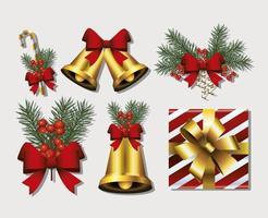 paquete de seis iconos de feliz navidad feliz vector