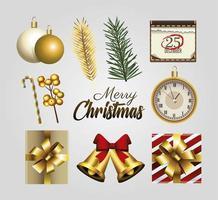 Feliz navidad letras doradas con iconos de conjunto vector