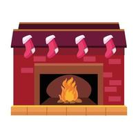 happy merry christmas chimney with socks hanging icon vector