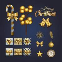 feliz navidad letras doradas con elementos de conjunto vector