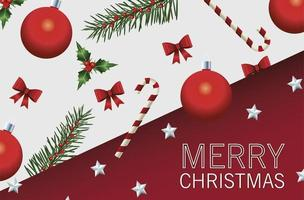 feliz navidad tarjeta de letras con hojas de abeto y bolas vector