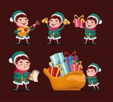 feliz feliz navidad grupo de elfos personajes vector