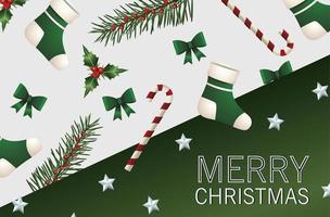 Feliz tarjeta de letras de feliz navidad con pino de abetos y calcetines verdes y lazo vector