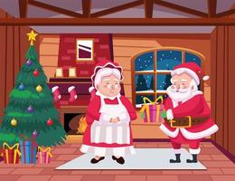 happy merry christmas card with santa family in the house scene vector
