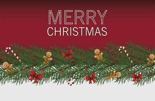 feliz navidad tarjeta de letras con arcos y gingerman en hojas vector