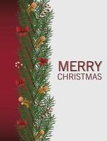 feliz navidad tarjeta de letras con arcos y bastones en hojas vector