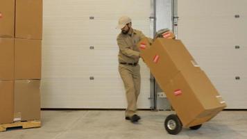 bezorger bezorgt pakketten via magazijn video