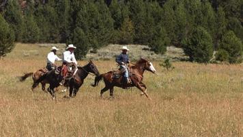 tres vaqueros a caballo, cámara lenta video