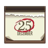 feliz feliz navidad calendario con 25 números y marca vector