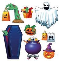 halloween sale seasonal poster with set items vector
