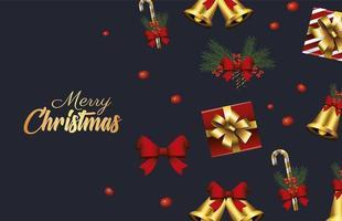 feliz navidad letras doradas con campanas y regalos vector