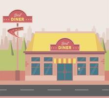 best diner scene vector