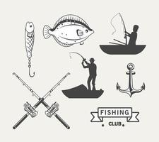 seven fishing icons vector