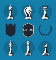 nine chess items vector
