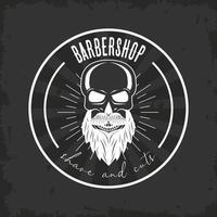 barber shop bearded skull vector