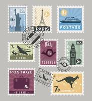 eleven postage stamps vector