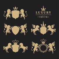 five luxury emblems vector