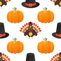Seamless colorful thanksgiving pattern with turkey bird pumpkins and the hat vector