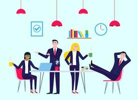Coffee break colleagues in meeting room office with laptop coffee and chairs happy men and women talking and working vector characters flat style vector illustration Teamwork concept in business
