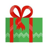 Green gift box with big ribbon and bow on it flat style design vector
