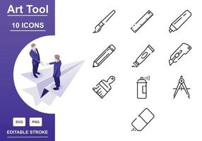 Write And Paint Tool Icon Set vector