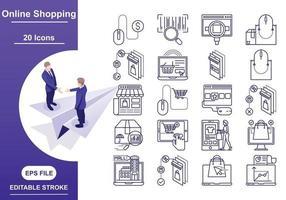 conjunto de iconos de negocios y finanzas trazo y color editables vector