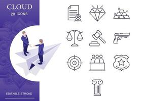Law and Justice  Icon Set vector