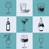 nine alcoholic drinks vector