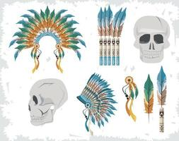 indian boho icons vector