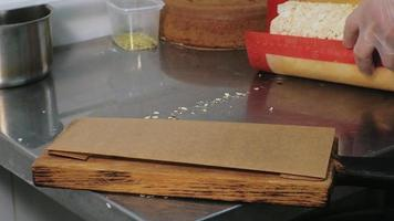 Baker Placing a Pastry on a Serving Board video