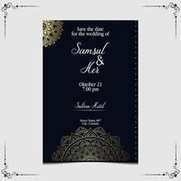 Mandala vector with wedding invitation template Free Vector