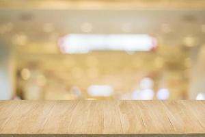 Wood floor with blur of bokeh of market background photo