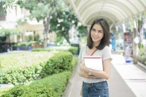 A portrait of an Asian university student on campus photo