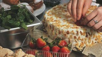 Strawberries Being Placed upon A Pastry video