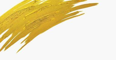 textura de trazo de pincel dorado sobre fondo blanco foto