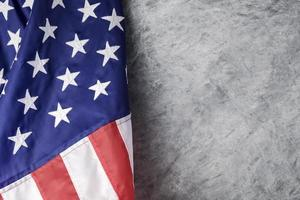American flag on cement background photo