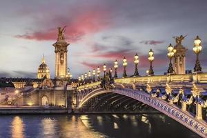 Alexander III bridge in Paris at sunset photo