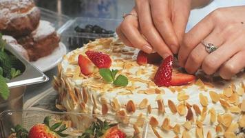 Decorating a Cake with Fruit video