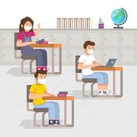 Student at School With Health Protocol vector