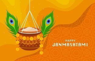 Celebration of Janmashtami Festival Concept vector