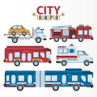 city transport lettering and bundle of five vehicles vector
