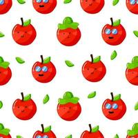 cute summer apple cartoon character with flat hand drawn style seamless pattern vector