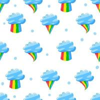 cute clouds with various rainbow style in flat hand drawn style seamless pattern vector