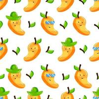 cute summer mango cartoon character with flat hand drawn style seamless pattern vector