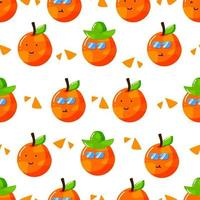 cute summer orange citrus cartoon character with flat hand drawn style seamless pattern vector