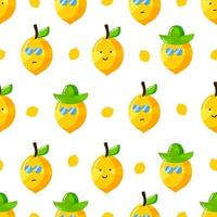 cute summer lemon cartoon character with flat hand drawn style seamless pattern vector