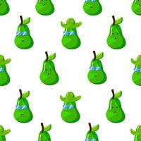 cute summer avocado cartoon character with flat hand drawn style seamless pattern vector