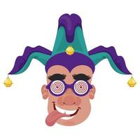 man wearing joker hat and goggles fools day accessories vector