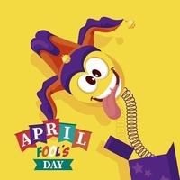 april fools day lettering with emoji in surprise box vector