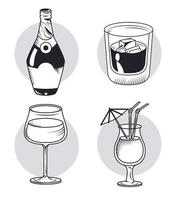 whiskey and drinks vector